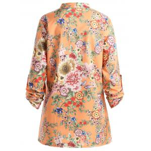 Plus Size Pleated Floral Print Blouse - ORANGE 2XL