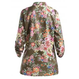 Plus Size Pleated Floral Print Blouse - DARK CAMEL 3XL