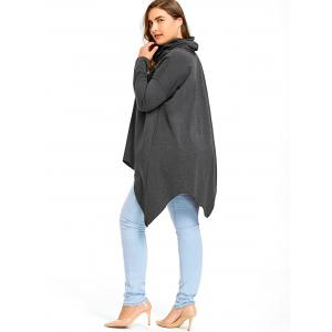 Plus Size Long Sleeve Drop Shoulder Handkerchief Top -