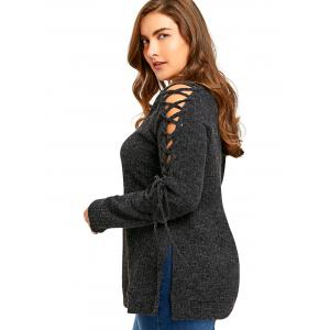 Plus Size Long Sleeve Ribbed Side Slit Lace Up Top - DARK GREY 4XL