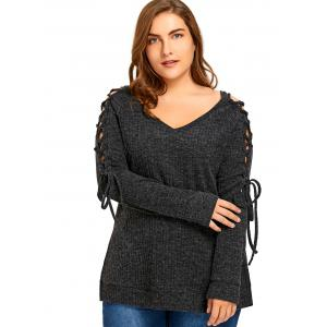 Plus Size Long Sleeve Ribbed Side Slit Lace Up Top - DARK GREY 5XL