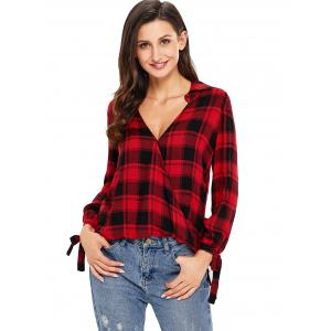 V Neck Plaid High Low Blouse - RED S