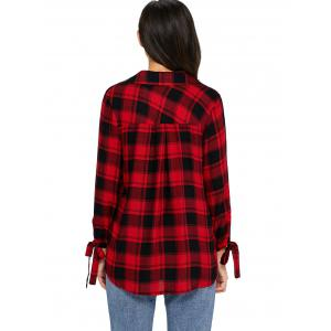 V Neck Plaid High Low Blouse - RED M