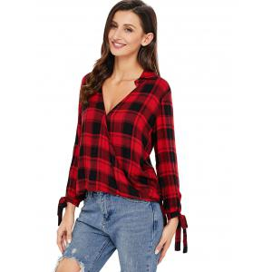 V Neck Plaid High Low Blouse - RED XL