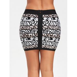 Bodycon Jacquard Bandage Skirt - BLACK M