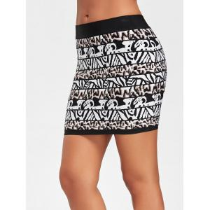 Bodycon Jacquard Bandage Skirt - BLACK L