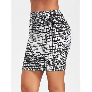 Line Jacquard Fitted Bandage Skirt - BLACK M