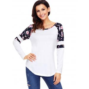 Floral Insert Raglan Sleeve Tunic Top - WHITE S