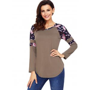 Floral Insert Raglan Sleeve Tunic Top - BROWN 2XL