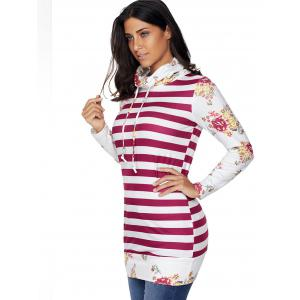 Floral and Striped Cowl Neck Sweatshirt - RED S