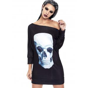 Halloween Off The Shoulder Skull Print Dress - BLACK XL