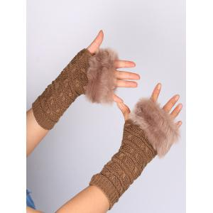 Soft Fur Winter Knitted Fingerless Gloves - KHAKI