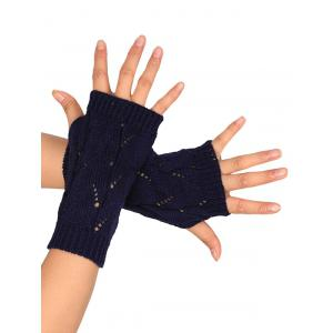 Tree Branch Shape Hollow Out Knitted Fingerless Gloves - PURPLISH BLUE