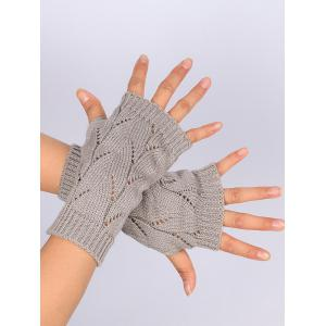 Tree Branch Shape Hollow Out Knitted Fingerless Gloves - LIGHT GRAY
