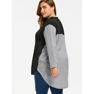 Plus Size Pinstripe High Low Hem Sweatshirt -