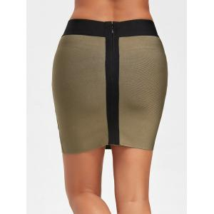 Contrast Color Bodycon Bandage Skirt - ARMY GREEN M