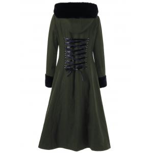 Hooded Longline Lace Up Coat - OLIVE GREEN XL