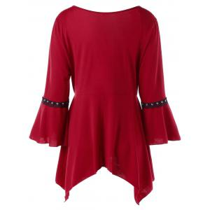 Plus Size Flare Sleeve Lace Up Tee - WINE RED XL