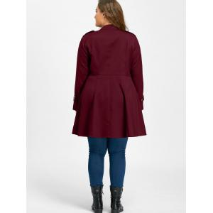 Plus Size Double Breasted Epaulet Flare Coat - WINE RED 3XL