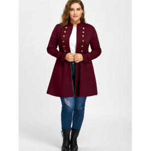 Plus Size Double Breasted Epaulet Flare Coat - WINE RED XL