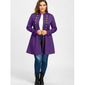 Plus Size Double Breasted Epaulet Flare Coat - PURPLE 3XL