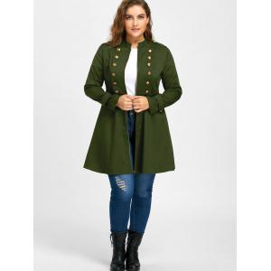 Plus Size Double Breasted Epaulet Flare Coat - ARMY GREEN 2XL