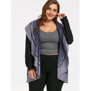 Plus Size Striped Open Front Waterfall Cardigan -