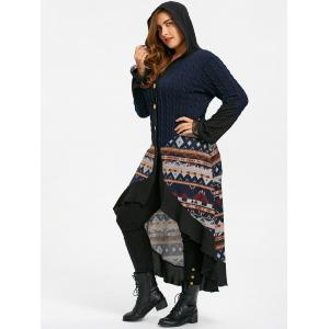 Plus Size Hooded Tribal Print Dip Hem Coat -