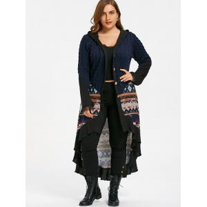 Plus Size Hooded Tribal Print Dip Hem Coat - PURPLISH BLUE 3XL