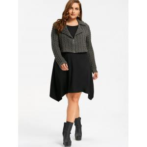 Plus Size Zip Front Cable Knit Tunic Top - BLACK AND GREY 3XL