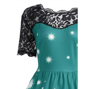 Plus Size Lace Panel Midi Father Christmas Party Dress - GREEN 5XL