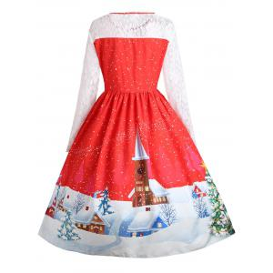 Plus Size Christmas Santa Claus Lace Sleeve Party Dress - RED XL
