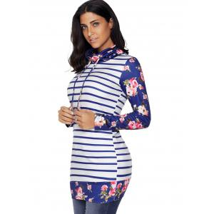 Floral and Striped Cowl Neck Sweatshirt - BLUE XL