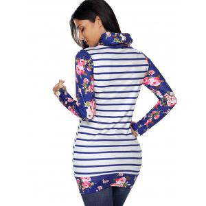 Floral and Striped Cowl Neck Sweatshirt - BLUE M