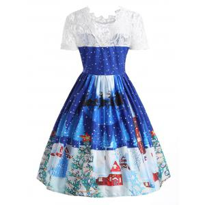 Christmas Print Lace Panel 50s Swing Dress - BLUE M