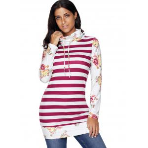 Floral and Striped Cowl Neck Sweatshirt - RED M