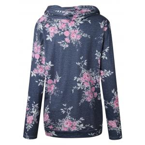 Cowl Neck Floral Print Hoodie - GRAY XL