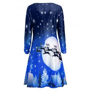 Christmas Deer Long Sleeve Tee Dress - BLUE XL
