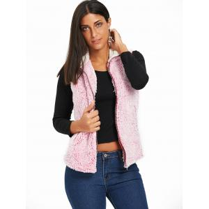 Zip Fly Stand Collar Shearling Vest - PINK L