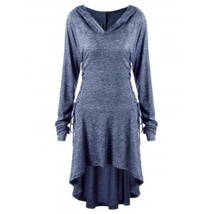 Plus Size Lace Up Marled Dip Hem Hoodie - BLUE 5XL