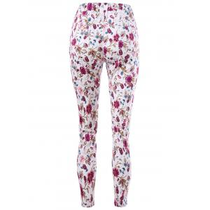 Patch Pockets Allover Floral Tight Pants - COLORMIX L