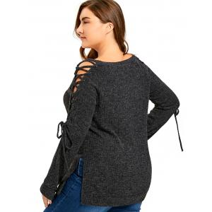 Plus Size Long Sleeve Ribbed Side Slit Lace Up Top - DARK GREY 2XL