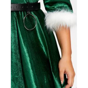 Plus Size Faux Fur Panel Velvet Christmas Party Dress with Hat -