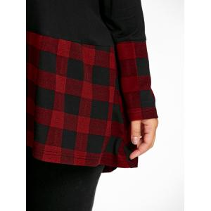 Plus Size Plaid Dip Hem Tunic Top -