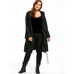 ... Plus Size Gothic Ruffle Lace Up Coat ...