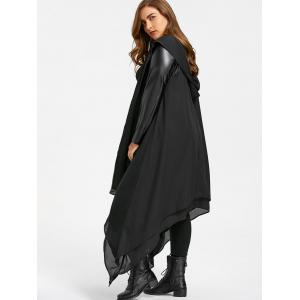 PU Leather Panel Hooded Duster Coat -