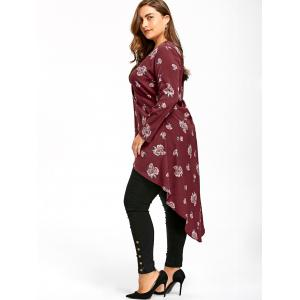 Plus Size Crossover Tiny Floral Dip Hem Blouse -