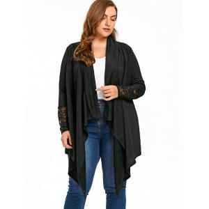 Plus Size Sheer Lace Trim Drape Cardigan -