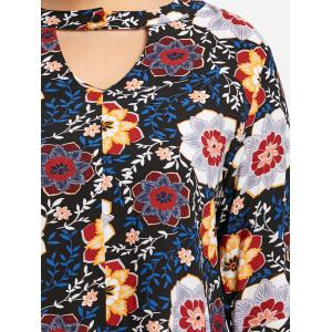 Plus Size Bell Sleeve Keyhole Floral Blouse -