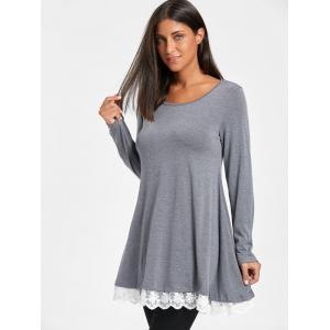 Scoop Neck Chiffon Trimmed Tunic Top -